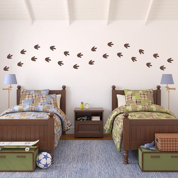 Dinosaur Footprints Wall Decal Set - Boy Bedroom Decor - Dinosaur Tracks Set of 24 - Medium Size