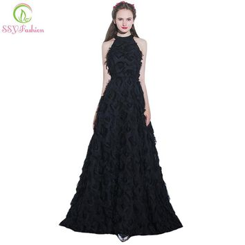 New Simple Elegant Black Long Evening Dress Sexy Halter Feather Floor-length Prom Party Gown Custom Formal Dresses