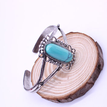 Twilight Bella Vintage Silver Plated Natural Turquoise Cuff Bracelets For Women Fashion Jewelry bracelets & bangles