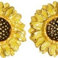 Sunflower Post Earrings with Color after Van Gogh - 7262