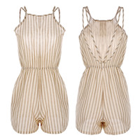 Stripe Strappy  Backless  Romper