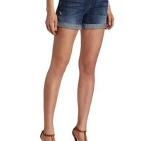 7 For All Mankind Women's Relaxed Mid Roll Up Short in Grinded Medium Blue