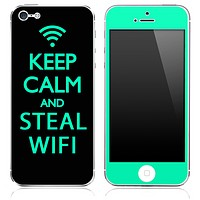 Trendy Green and Black - Keep Calm & Steal Wifi - Skin for the iPhone 3gs, 4/4s, 5, 5s or 5c
