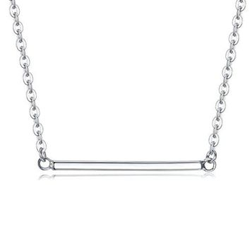 Sterling Silver Thin Minimalist Bar Necklace Simple Horizontal Bar Necklaces for Women