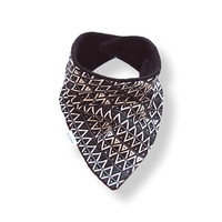 Baby Bandana Bib Scarf in Black and WhiteTriangles Flannel with Snap Closure for Boy or Girl