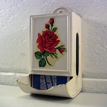 Vintage Shabby Rose Match Holder Cottage Kitchen Decor