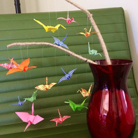 Paper Cranes on a branch, origami mobile, vase decor flowers, office art, paper crane sculpture, feng shui home decor, baby decor, good luck