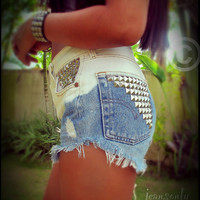 Vintage high waisted denim shorts,ombre studded denim cut off shorts by Jeansonly