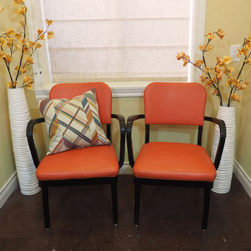 PAIR 1960s Retro Industrial Office Chairs Orange and Black / All Steel Equipment, Inc. / Made in the USA