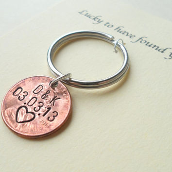 Personalized Couple Keychain, Lucky Penny Keychain, Initial Key Chain, Anniversary Gift for Husband, Wife, Boyfriend Girlfriend Keychains