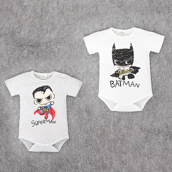 Baby Superman and Batman Short Sleeves rompers for Boys, Newborn Baby Romper, Toddler Underwear, Infant Clothing