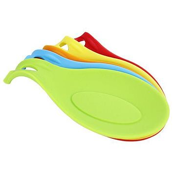 Silicone Heat Resistant Spoon Fork Mat Rest Utensil Spatula Holder Kitchen Tool (Random Color)6YFF