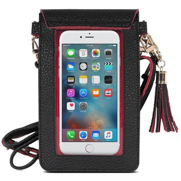 Cell Phone Bag, MoKo PU Leather Crossbody Bag Mini Phone Pouch with Shoulder Strap for iPhone X, 8, 8 Plus, 7 Plus, 6S Plus, 6 Plus, 7, 6S, 6, 5S, 5C, Samsung S8, S7 Edge, S6, J3, J7, Black+Red
