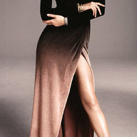 Black and Brown High Slit Long Sleeve Dress