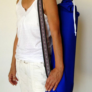 Blue YOGA / PILATES mat bag with pink / purple / white woven aztec strap 100% strong cotton drill. Re-enforced stitching