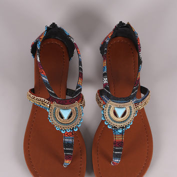 City Classified Tribal Beaded Hardware Accent Thong Flat Sandal