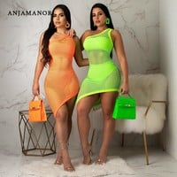 ANJAMANOR Neon Fishnet Mesh Sexy Three Piece Set Women Bodycon Dress Summer Club Outfits 3 Piece Suits Matching Sets D29-AB27