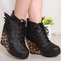 NEW Womens Spike Studded High Cuban Heels Platform Lace Up Punk Ankle Boot Shoe