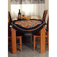 Tache Country Rustic Floral Black Midnight Awakening Tablecloth
