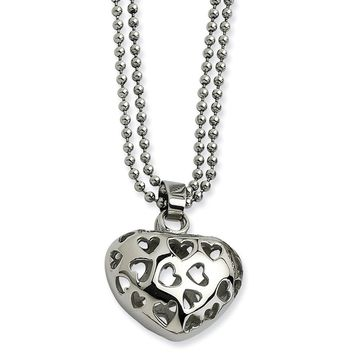 Stainless Steel Puffed Heart w/ Heart Cutouts 22in Necklace