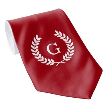 Cranberry Red White Laurel Wreath Initial Monogram Neck Tie