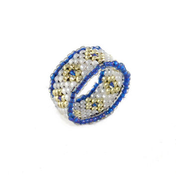 Silver and Blue Beaded Ring with Custom Size