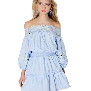 Off-shoulder Lace Accent Cutout Long Sleeve Blouson A-Line Ruffled Mini Dress