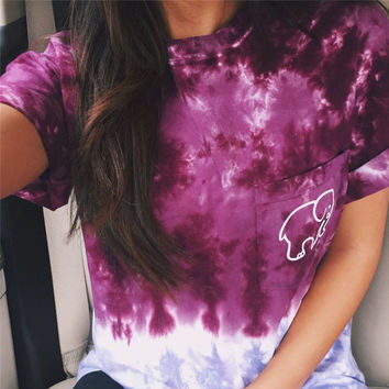 Ladies Tie Dye Gradient Elephant T Shirt
