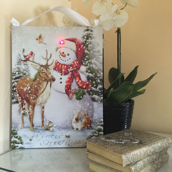 Winter Greetings Snowman Lighted Canvas Wall Art