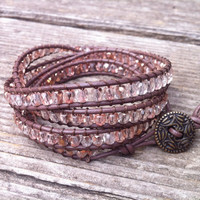 Beaded Leather 4 Wrap Bracelet with Light Pink Czech Glass Beads on Brown Leather