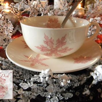 Vintage Pink Transferware Johnson Brothers Snow Crystals Snowflake Tea Cup & Saucer