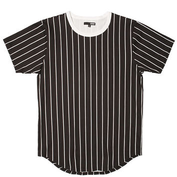 Black Baseball Striped Curved Hem Tee