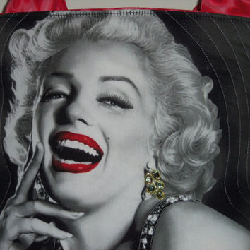 MARILYN  MONROE  JEWELED Quilted Tote Bag, Knitting Bag, Crochet Bag, Gift,  Messenger Bag, Craft Bag, Purse