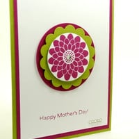 Handmade Happy Mothers Day Card With Burst of Burgundy Flower