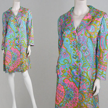 Vintage 60s 70s SUSAN SMALL Psychedelic Jacket Womens Coat Bright Print Silky Coat Satin Jacket 1970s Coat Pucci Style Multicolored Jacket