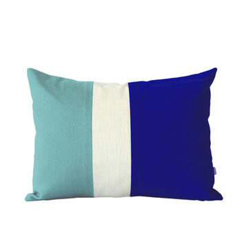 Indigo and Mint Color Block Pillow Cover by JillianReneDecor - Summer Home Decor - Colorblock Pillow - Striped Trio - Cobalt Blue