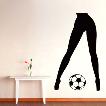 Wall Decals Football Vinyl Decal Sticker Gym Decor Sport Girl Soccer Ball Kj296