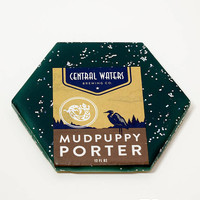 Ceramic Hexagon Beer Label Coaster | Central Waters Mudpuppy Porter | Upcycle Ceramic Tile Coaster | Craft Beer Geek Gift | Single Coaster
