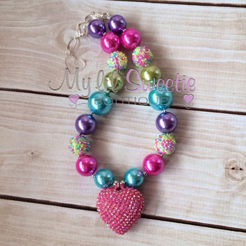 Pink heart, pink rainbow,  chunky necklace, heart necklace, children's necklace, bubblegum jewelry, bubblegum necklace