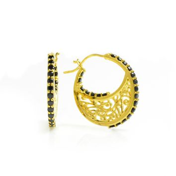 Small 14K Gold Plated Hoop Earrings With Gemstones