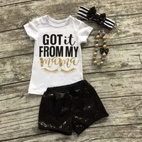"Eyelash summer girls boutique clothing black Sequins""got it from my mom"" shorts outfit with matching necklace and bow set"