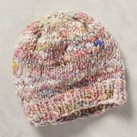 Handspun Shimmered Beanie by Knit Collage Purple Motif One Size Hats