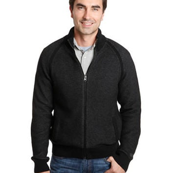 Lucky Brand Textured Knit Mockneck Jacket