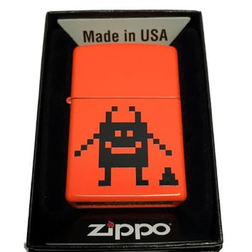 Zippo Custom Lighter - Pixel Character with Poop - Regular Neon Orange 28888CI003911