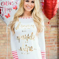 Dream.Sparkle.Shine Big Long Sleeve Striped Ends Top Coral