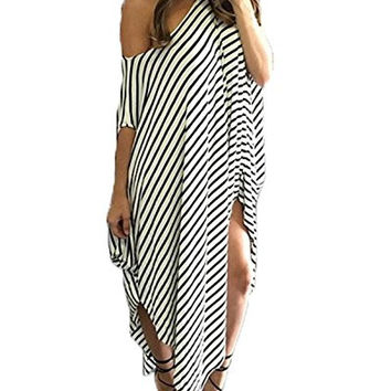 One Off Shoulder Striped Irregular Long Maxi Dress Kaftan Dress