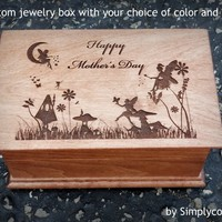 Mother's Day Gift - Gift For Mom - Custom Jewelry Box - Fairy Theme Gift - Wooden Jewelry box - Musical Jewelry Box