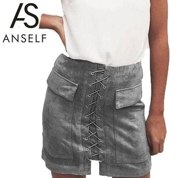 Anself Fashion Women Lace Up Suede Leather Skirt Sexy High Waist Bodycon Skirts Womens Vintage Pocket Short Pencil Skirt Faldas