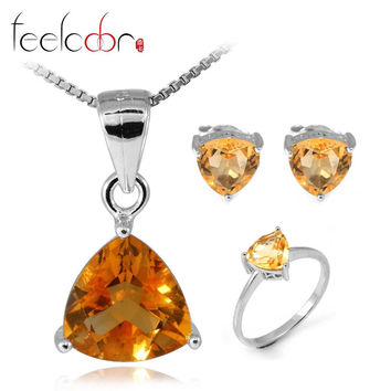 4.1 ct Natrual Citrine Ring Earring Pendant Necklace Jewelry Sets 925 Solid Sterling Silver Trillion Shape Gemstone Women Gift
