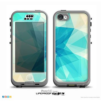The Vector Abstract Shaped Blue Overlay V2 Skin for the iPhone 5c nüüd LifeProof Case